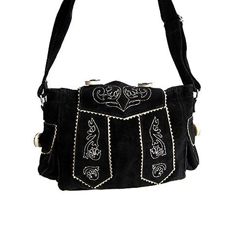 Almbock Trachten-Tasche Betti in schwarz - für Damen, modern, für Hochzeit oder Oktoberfest kaufen, in Lederhosen-Design aus