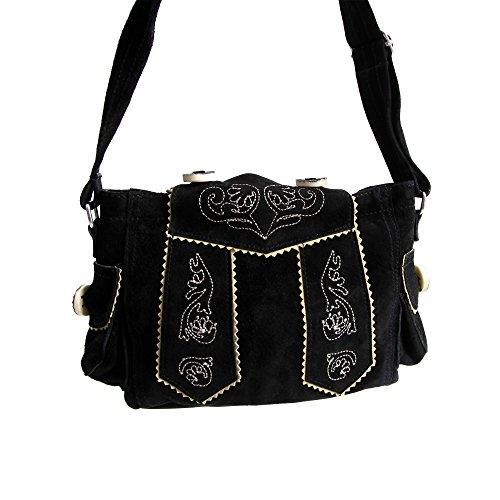 Almbock Trachten-Tasche Betti in schwarz - für Damen, modern, für Hochzeit oder Oktoberfest kaufen, in Lederhosen-Design aus Rinds-Leder - 6