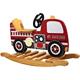 Teamson Kids Childrens Wooden Fire Engine Toddler Nursery Seat Rocker Rocking Horse Toy TD-0042A