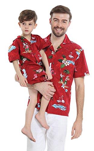 Passender Vater Son Hawaiian Luau Outfit Weihnachtsmann-Hemd Jungen-Hemd-Kurzschluss Roter Sankt-Flamingo S-2