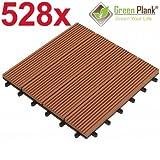 Green Plank 1 PALETTE 528 STÜCK = 47,52 m² WPC KLICK-FLIESEN 30x30 CM MITTELBRAUN - 70% HOLZANTEIL (FICHTE)