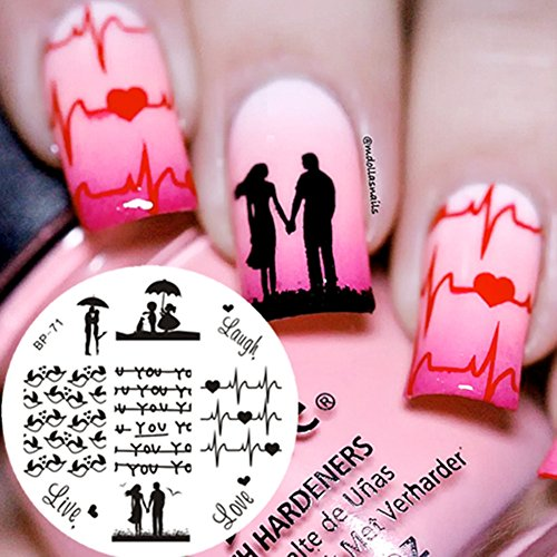 Born Pretty 5.5cm Rund Love Theme Nagel Kunst Schablone Stamping Netter Vogel BP-71 Test