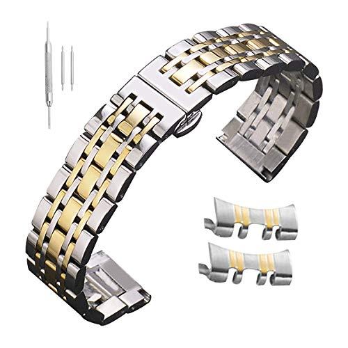 mm Edelstahl-Uhrenarmband Silber Gold Ersatz Riemen mit Geraden gekrümmtem Ende ()