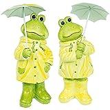 A.G.S. 2er Set Frösche mit Regenschirm Gartenfigur Gartendekoration Gartenteich Frog