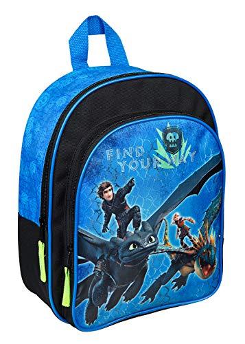 Undercover DRRA7601 - Rucksack mit Vortasche und gepolsterten Schultergurten, Dreamworks Dragons mit Ohnezahn und Hicks, ca. 31 x 25 x 10 cm