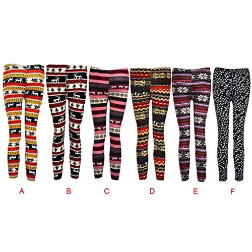 Ouneed®Christmas Women Skinny Leggings Stretchy Flower Deer Printed Pencil Tight Pants D