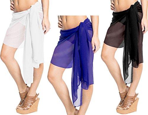 Frauen Bademode Bikini-Badeanzug Coverup Wrap Mini Sarong Rock schwarz Hälfte kurz -