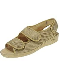ALBEROLA 66750 Zapatilla Rejilla Punta Abierta de Verano con Velcro para Mujer