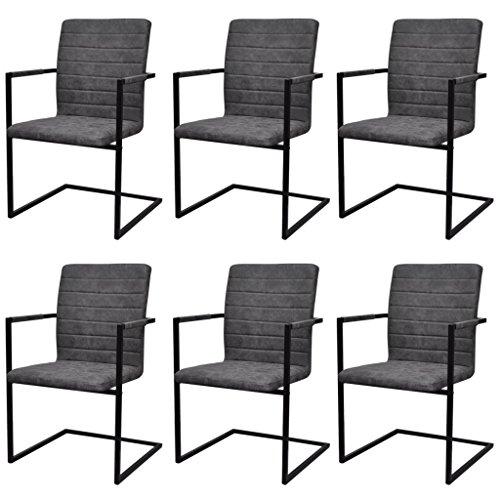 Festnight 6er-Set Freischwinger Esszimmerstühle Essstuhl Küchenstuhl mit Armlehnen Schwingstuhl...
