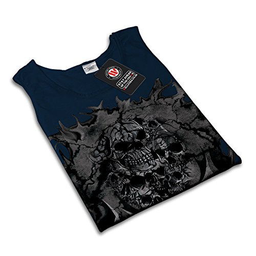 Tod Schädel Böse Skelett Krieg Zombie Damen S-2XL Muskelshirt   Wellcoda Marine