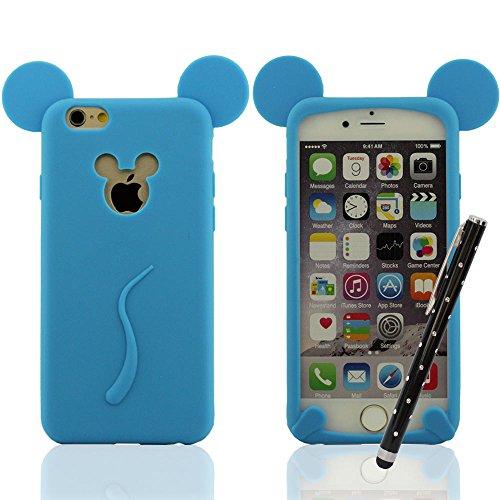 Niedlich Mickey Mouse Stil Serie - Schutzhülle Hülle für iPhone 6 / 6S 4.7 Zoll Super Weiche & Dünn Silikon Gel Premium Handy Hülle Anti-Shock Anti-Staub-Anti-Scratches + Hübsch Stylus Pen, Slap-up St Blau