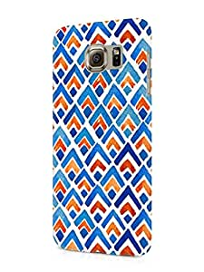 Cover Affair Pattern Printed Designer Slim Light Weight Back Cover Case for Samsung Galaxy S6 (Blue & Red & White)