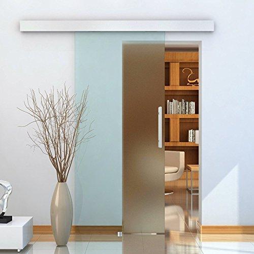 HOMCOM Porta Scorrevole in Vetro con Binario Silenzioso 200 x 213cm