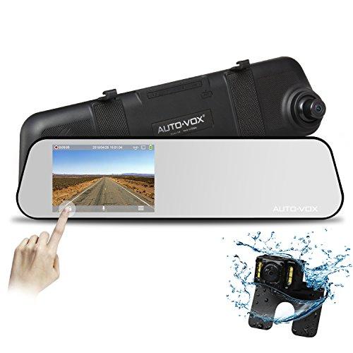 AUTO-VOX M6 Autokamera DashCam Spiegel Rückfahrkamera Set, FHD 1080P Dual Lens,4.5