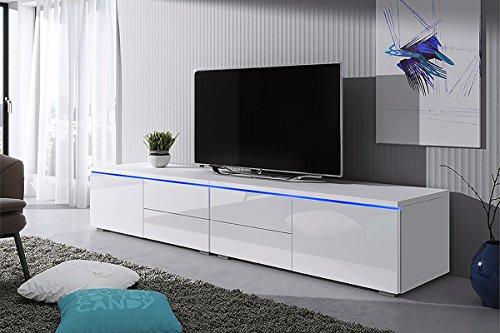 Selsey Luv Double - meuble TV Blanc mat / Blanc brillant avec l'éclairage LED 2 x 100cm