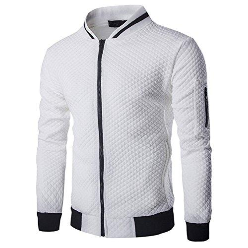 Hikenn Jacke Strickjacke Mantel herren Herbst Winter reißverschluss Pullover Baumwolle Freizeit (L, Weiß)