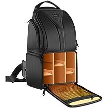 Neewer® Cámara profesional bolsa de almacenamiento duradero impermeable a prueba de desgarro y Negro Mochila para transporte de caso para la cámara réflex digital, la lente y accesorios NW-XJB0102 (naranja Interior)