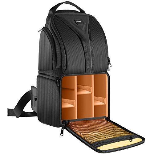 Neewer® Professional Kamera Aufbewahrungstasche reißfeste und wasserdichte schwarze Rucksack Tasche für DSLR Kamera, Objektiv und Zubehör NW-XJB0102 (orange Interior)