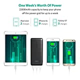 Power Bank RAVPower 22000mAh Portable Charger 5.8A Output 3-Port Battery Pack (2.4A Input, Triple iSmart 2.0 USB Ports, Li-polymer Battery) for Smartphones and Tablets - Black