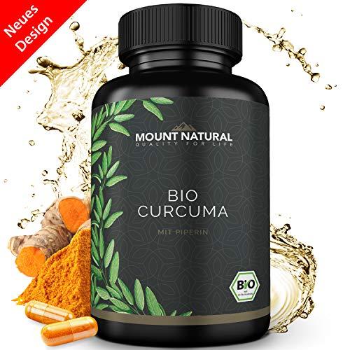 Bio Curcuma (Kurkuma) 180 Kapseln, Hochdosiert + Curcumin + Piperin. 3000mg Tagesgesamtdosis. Vegan & Ohne Zusatzstoffe. Laborgeprüft Aus Deutschland -
