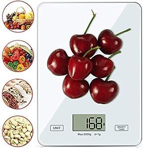 Küchenwaage Digitalwaage Professionelle Waage Electronische küchenwage, Digitale Haushaltswaage Digital mit LCD Display-wunderbare Präzision auf bis zu 1g - 5kg Maximalgewicht weiß