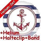Folienballon * Anchors Aweigh * + Helium FÜLLUNG + Halte Clip + Band * für Eine Mottoparty// Folien Ballon Deko Ballongas Geburtstag Geschenk Helium Maritim Anker Seefahrt Seefahrer Steuerrad Schiff