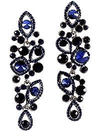 Schmuckanthony Luxus Abend Ball Hochzeit Schmuck Lange Ohrringe Kristall Dunkelblau Blau