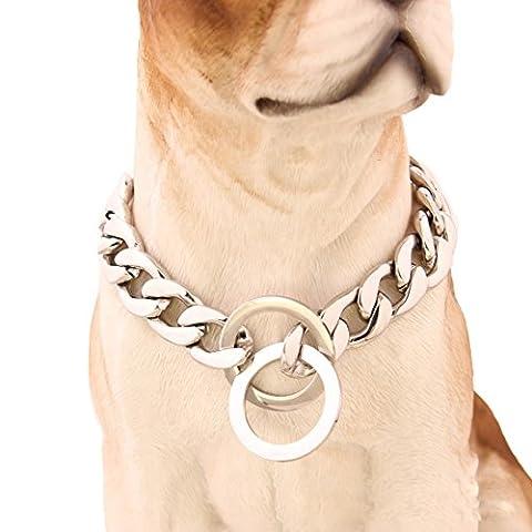 Pet Online Hundehalsband Spiegel aus poliertem Edelstahl p Kette Titan Stahl Kette Halskette Hund Ausbildung leine Abschlepp-trennmuffe 15 mmnk Link, 30 Zoll