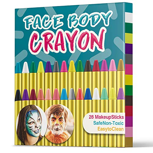 UNEEDE Kinder Make-up 28 reiche Farben Kinderset, Sicherheit Bodypaint Farbe, Easy on Easy off Kindertattoo, Fit für Kinderparty ungiftig 28Pack (Halloween Schlange Gesicht Make-up)