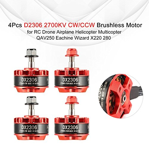 【4 Paquetes】 D2306 2306 2700KV 2-4S CW / CCW Motor sin escobillas para QAV250 Eachine Wizard X220 280 RC Drone Airplane Helicopter Multicopter
