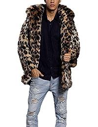 b64b607764ff Pelzmantel Mit Kapuze Kunst Felljacke Herren Leopard Muster Design Wind  Coat,AKAUFENG Winterjacke Mantel Kunstpelz lange Jacke…