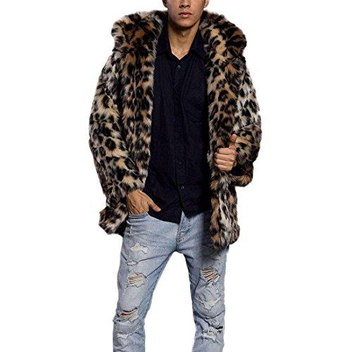 Pelzmantel Mit Kapuze Kunst Felljacke Herren Leopard Muster Design Wind Coat,AKAUFENG Winterjacke Mantel Kunstpelz lange Jacke Faux Fur Leopard Mantel