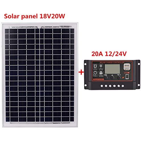 Nosii 10A / 20A / 30A / 40A / 50A / 60A 12V 24V LCD-Anzeige Doppel-USB-Port-Solarladeregler + 18V 20W Solar Panel (Edition : 20A)