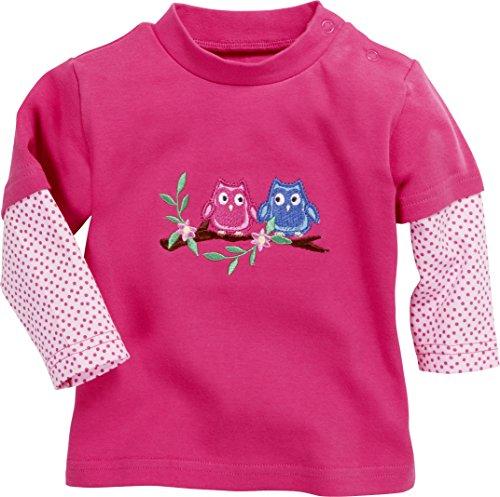 Schnizler Baby-Mädchen Sweatshirt Langarmshirt Interlock Eulen, Oeko-tex Standard 100, Rosa (Pink 18), 86