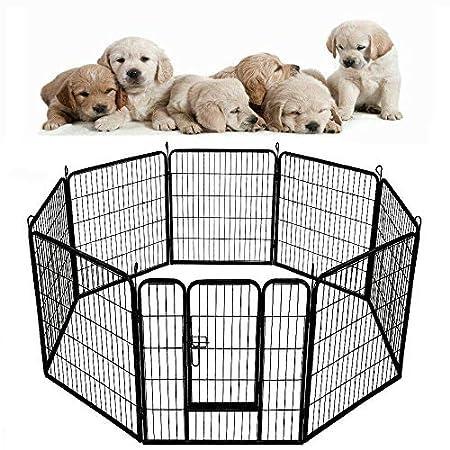 HENGMEI 8-TLG Welpenauslauf Hunde Welpenlaufstall Welpenzaun Hundeauslauf Tierlaufstall Freilaufgehege (XL, 75x100cm)