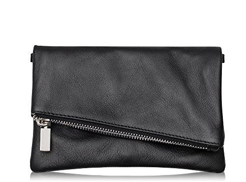 Abendtasche Handtasche aus echtem Leder Farbauswahl (Schwarz) ()