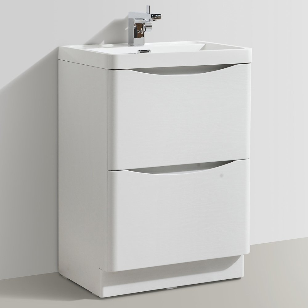 Bali Bathroom 600mm Floor Standing Wood Effect Vanity Unit & 1 Tap Hole  Poly Marble Basin (white Ash): Amazon: Kitchen & Home