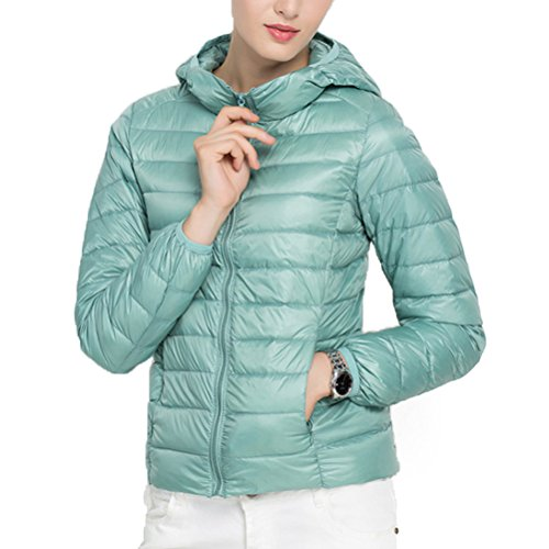 Zhhlaixing Frau Lady's Winter Fashion Casual Slim Down Ultra Light Coat With Hood Jacket Light Blue