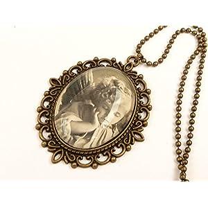 Große Halskette mit nostalgischem Engel Motiv, Unikat
