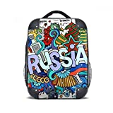 diythinker Russland Winter Akkordeon Casino Illustration Hard Case Schultergurt Kinder Rucksack Geschenk 38,1cm