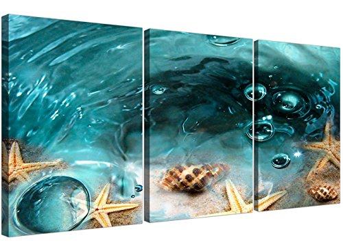 Azul Estrella mar playa Cuadros lienzo 3Panel su