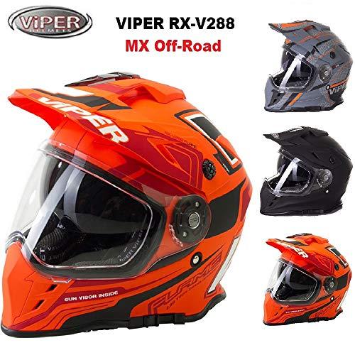 Viper RXV288 Integral Motocross Enduro MX On Off Road Abenteuer Dreckiges Fahrrad Quad BMX ATV Motorrad Helm (XS-XL, Mehrfarben) - Flame Matt Orange - L - Motorrad-helm Abenteuer