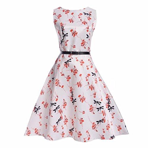 Mädchen Prinzessin Kleid Sannysis Kid Kind Mädchen Feder Print Hochzeit Sommer Prinzessin Kleid + Gürtel Kleidung (Weiß3, 140) - Mädchen 5t Trikot