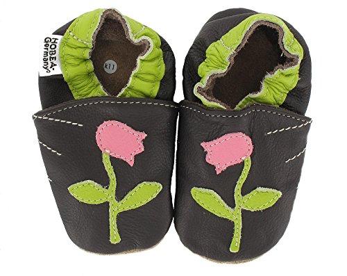 HOBEA-Germany  Krabbelschuhe Tulpe, Chaussons pour enfant mixte bébé Marron (dunkelbraun)