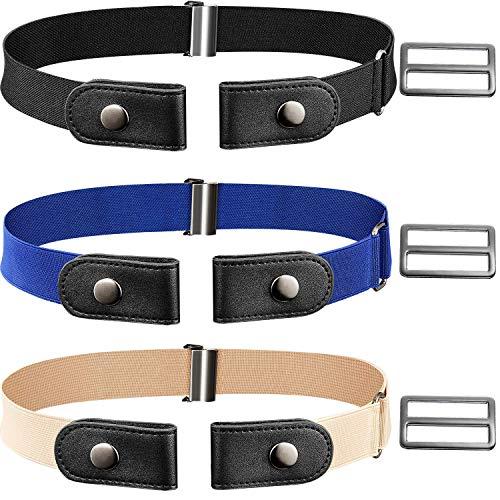 CNNIK 3 piezas de cinturón elástico sin hebilla con hebillas adicionales para mujeres y hombres, cinturón elástico de hasta 78 pulgadas para pantalones vaqueros