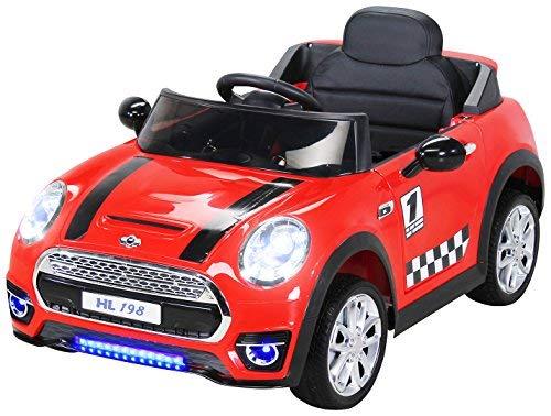 Actionbikes Motors Kinder Elektroauto Mini Cooper Eva Reifen Ledersitz Kinderfahrzeug Kinderauto in vielen Farben (Rot)*