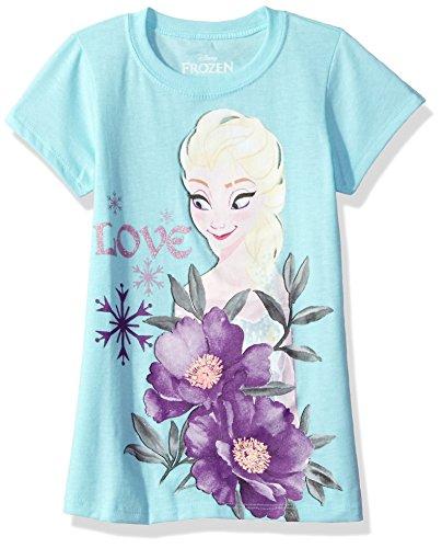 Disney Big Girls' Frozen Short Sleeve Tee, Light Blue, XS