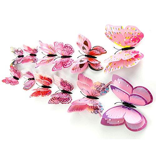 Yumimi88 12x 3D Schmetterling Wandaufkleber Kühlschrankmagnet Room Decor Aufkleber Applique Wanddeko Metall Schmetterlinge Deko Dekorative Möbelfolie (Pink) -