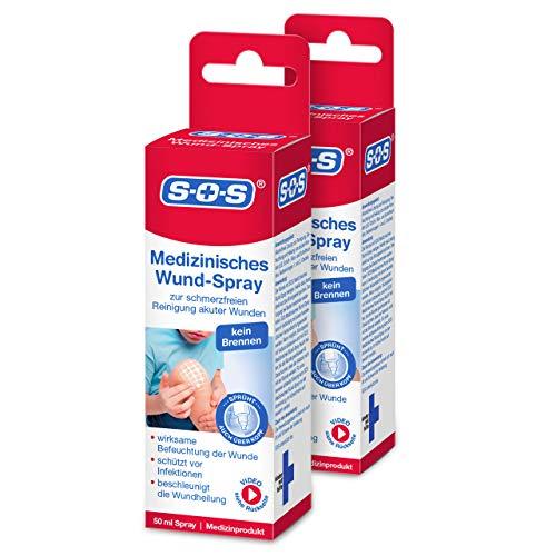 SOS Medizinisches Wund-Spray zur schmerzfreien Reinigung akuter Wunden, Wunddesinfektionsmittel, 50ml