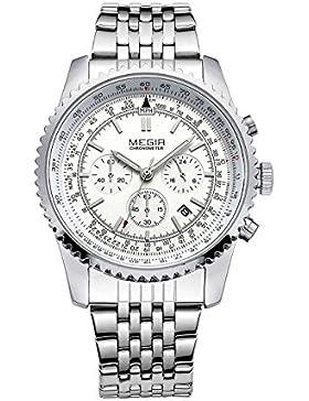 megir Herren Military Edelstahl Band Armbanduhr Chronograph und Kalender Helle Quarz Handgelenk watch-silver